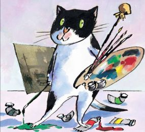 cat with easel